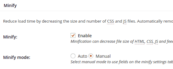 W3 Total Cache manual minify mode